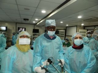 Gynecologists  Practicing Laparoscopic Tubal Recanalization, Salpingectomy and Pelvic Lymphadenectomy and Tissue Retrieval in Endobag By Dr. J. S. Chowhan.