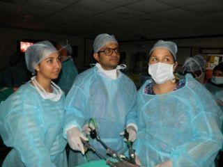 Prof Dr. R.K. Mishra Explaining & Demonstrate to Surgeons Laparoscopic Nissan Fundoplication on the Live Tissue