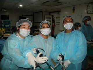 Today Surgeons performing Laparoscopic Transabdominal Preperitoneal Inguinal Hernia Repair (TAPP) on the Live Tissue.