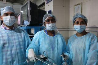 Gnecologist Practicing Laparoscopic Sacrohysteropexy, Sacrocolpopexy surgery and Surgeons practicing Laparoscopic Nissen Fundoplication, Nephrectomy and Splenectomy surgery on the live Tissue.