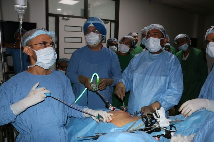 Live Demonstration of Laparoscopic Myomectomy surgery done by Prof Dr. R. K. Mishra.