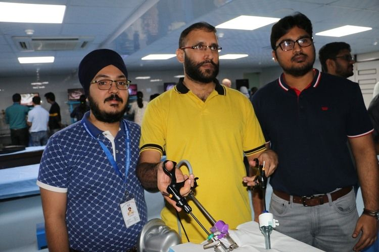 Surgeons and Gynecologists Practicing Top Gun Drill, Cobra Rope,Tin Cup and Terrible Triangle Drill Exercise Demonstration by Dr. J. S. Chowhan Batch August 2019.
