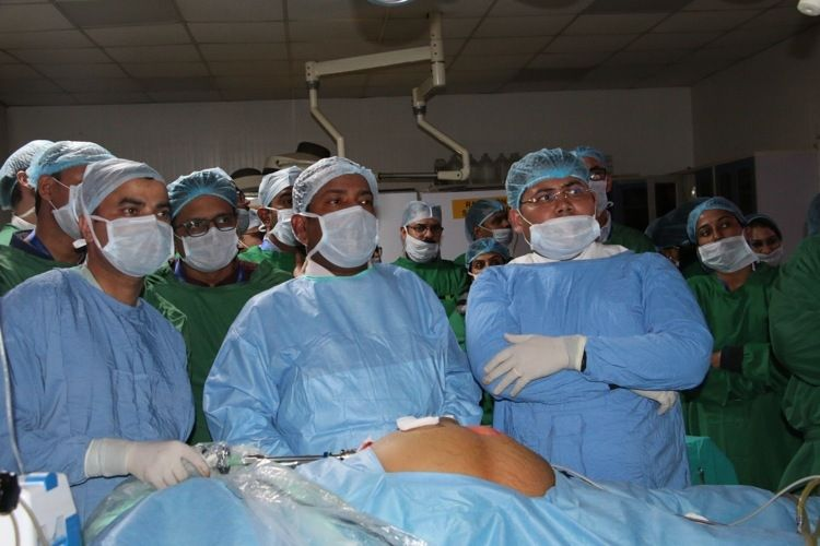 Live Demonstration of Laparoscopic Incisional Hernias surgery Demonstration by Prof Dr. R. K. Mishra.