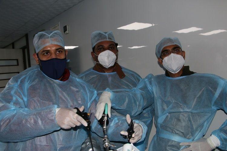Hands on Training in Minimal access surgery, Surgeon Practicing Laparoscopic Nissen Fundoplication, Nephrectomy Laparoscopic rectopexy and Splenectomy surgery on the live Tissue