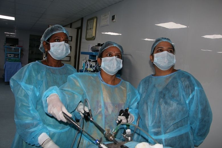 Gynecologists in wet lab practicing Laparoscopic Tubal Sterilization, Salpingostomy, salphingoophrectomy, Ovarian Drilling and Hysterectomy surgery on the Live Tissue.