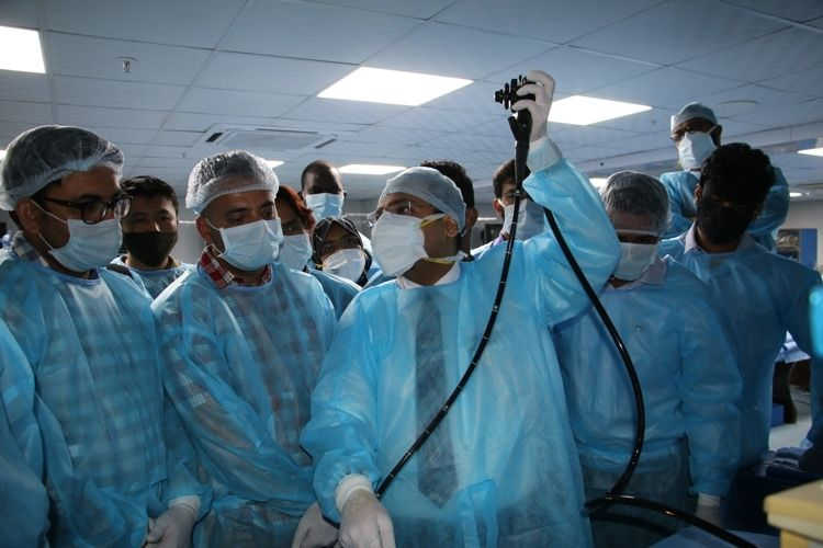 Today the surgeon  performed  Upper GI endoscopic procedure  on the live tissue  under the guidance of the Dr. Nishanth