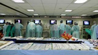 Laparoscopic Training Lab Surgeon & Gynecologist Practicing on the Live Tissue