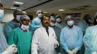 Laparoscopic Nephrectomy Demonstration by Prof.Dr. R. K. Mishra on the Live Tissue