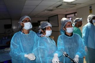 Gynecologists  Practicing Laparoscopic Tubal Re-canalization, Salpingectomy and surgeon practicing Hernia repair Surgery on the Live Tissue Demonstration By Dr. J. S. Chowhan.