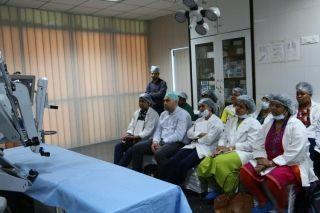 Prof.Dr. R. K. Mishra giving  Explanation on Patient Cart, Vision Cart and Master Console,Instrument designing and Working Principles of da Vinci Surgical System.