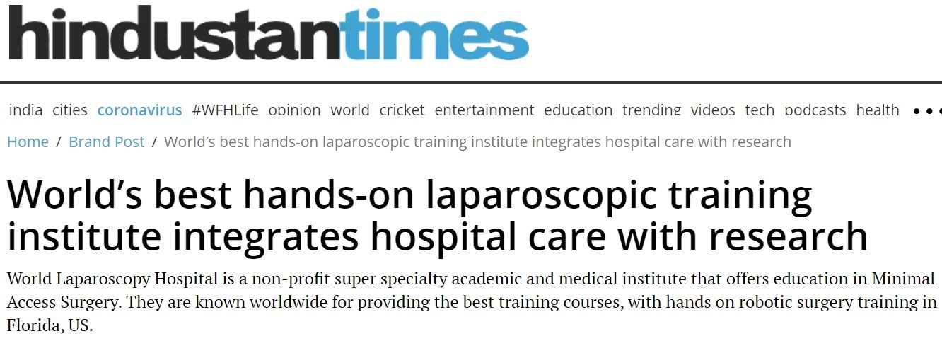 World Laparoscopy Press Release in Hindustan times