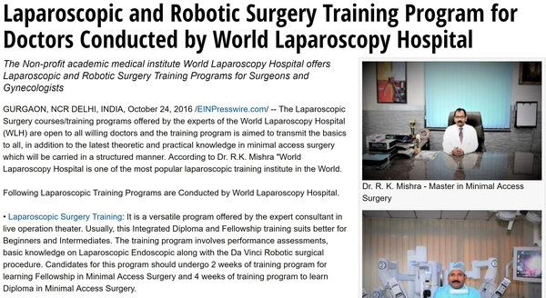 World Laparoscopy Hospital Press Release