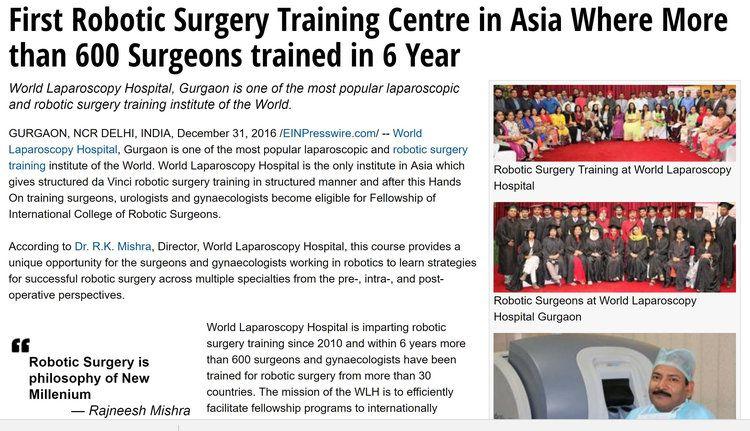 Robotic Surgery Training at World Laparoscopy Hospital