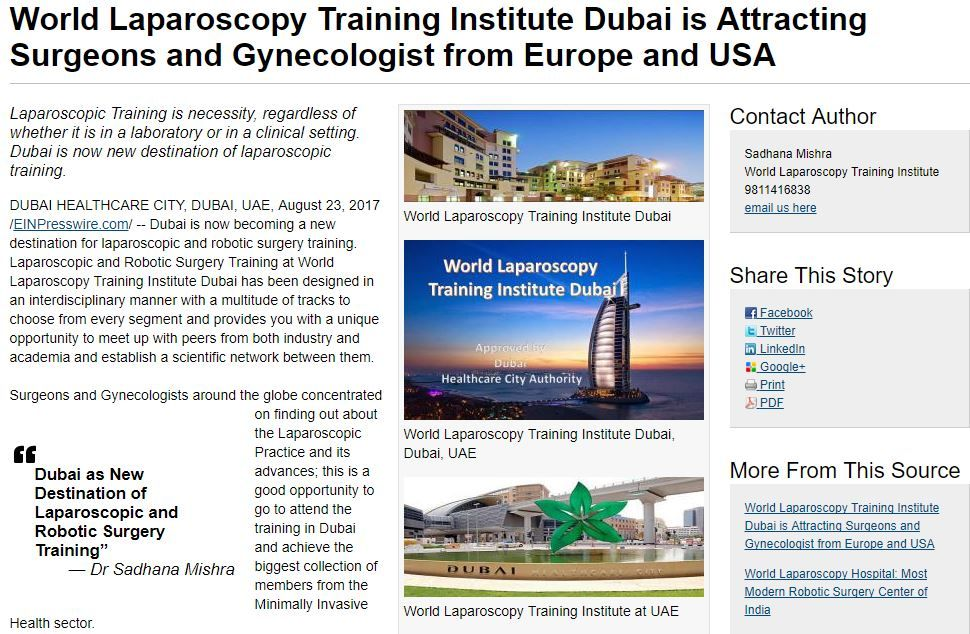 World Laparoscopy Training Institute Dubai is Attracting Surgeons and Gynecologist from Europe and USA