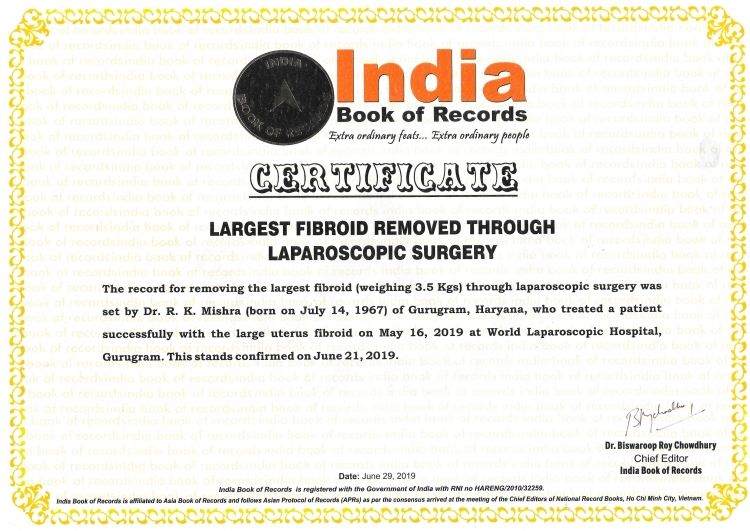 Largest Fibroid Removed by Laparoscopy in the World by Dr R K Mishra