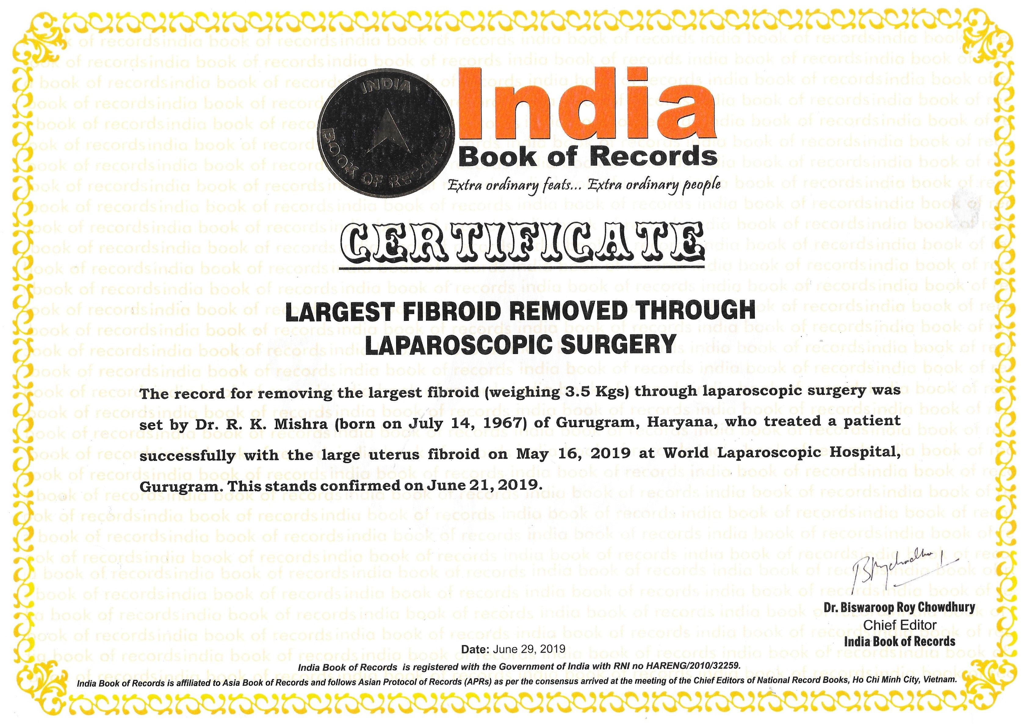 Heaviest Fibroid of the World Removed by Laparoscopic Surgery
